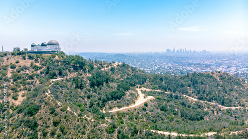 Aerial view of Griffith Park Observatory and downtown Los Angeles Wallpaper Mural