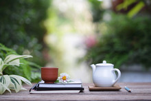 White Teapot And Vintage Cup W...