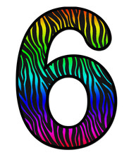 3D Zebra RAINBOW Print Number 6, Animal Skin Fur Creative Decorative Character, With Colorful Isolated In White Background. Has Clipping Path And Dicut. Design Font Number Wildlife Or Safari Concept.