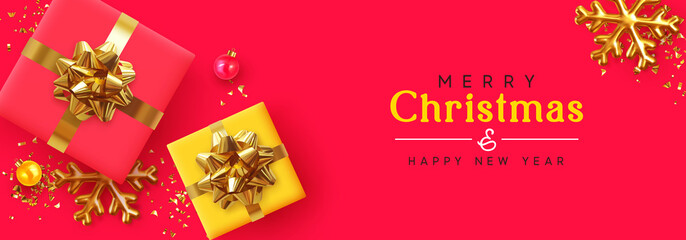 Obraz na płótnie Canvas Christmas banner. Background Xmas design of realistic gifts box, golden 3d render snowflake and glitter gold confetti, bauble ball. Horizontal christmas poster, greeting cards, headers website