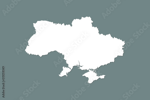 Cuadros en Lienzo Ukraine vector map with integrated land area using white color on dark backgroun
