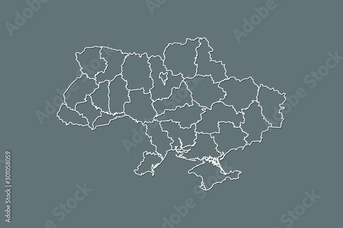 Ukraine vector map with border lines of regions using gray color on dark backgro Canvas Print
