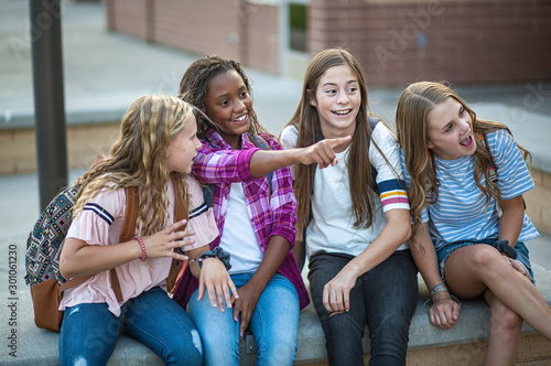 Candid photo of a group of teenage girls socializing, laughing and talking together at school Wallpaper Mural