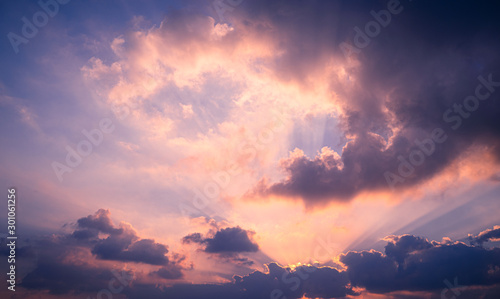 Foto auf Leinwand Aubergine lila Perfect Sunset sky with cloud for background.Nature concept Twilight sunset background