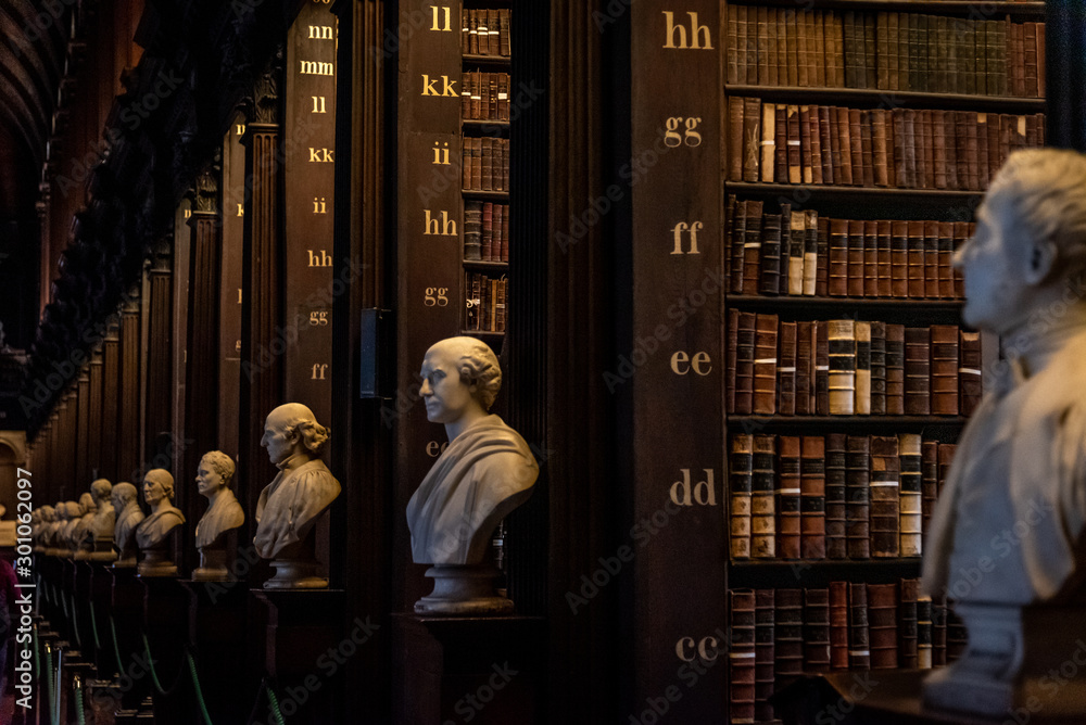 Obraz DUBLIN, IRELAND, DECEMBER 21, 2018: The Long Room in the Trinity College Library, home to The Book of Kells. Perspective view of the place, with large quantity of books and chest statues. fototapeta, plakat
