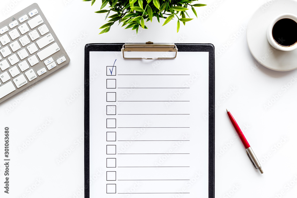Fototapeta Empty check list ready to fill on white background top view