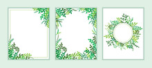 Earth Day Banner With Spring Green Leaves, Branches. Wedding Floral Invitation, Save The Date Card Design With Forest Greenery Herbs, Foliage. Vector Frame Natural, Botanical Border, Elegant Template.