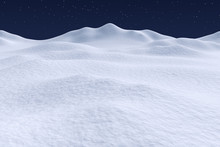 White Snow Hills Under Night Sky