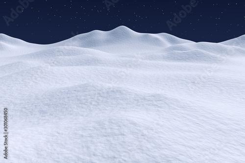 Foto auf Gartenposter Himmelblau White snow hills under night sky