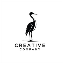 Heron Logo Design. Flamingo Icon Illustration Vector,  Logo Design Inspiration