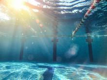 View Of Poll Underwater Sunlight Through Water