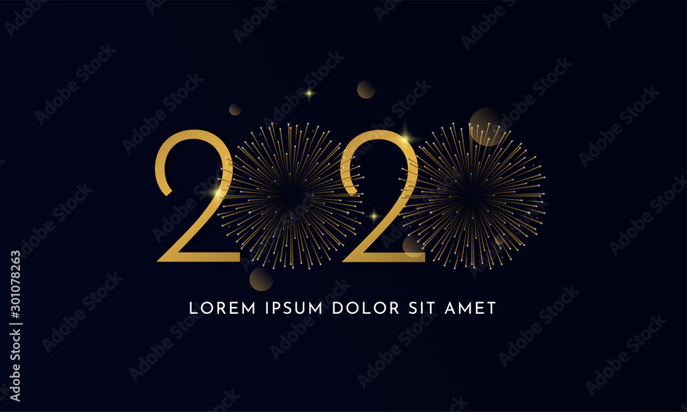 Fototapeta Happy new year 2020 typography text celebration poster design. glowing golden number with double gold fireworks explosion element and dark sky background vector illustration.