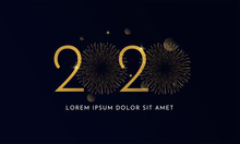 Happy New Year 2020 Typography Text Celebration Poster Design. Glowing Golden Number With Double Gold Fireworks Explosion Element And Dark Sky Background Vector Illustration.