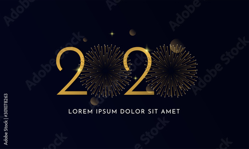 Fototapeta Happy new year 2020 typography text celebration poster design. glowing golden number with double gold fireworks explosion element and dark sky background vector illustration. obraz