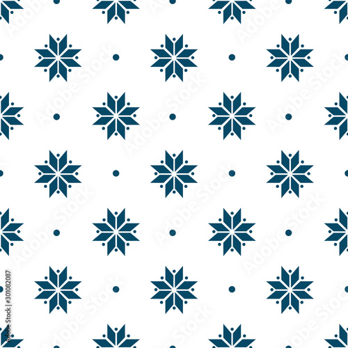 winter minimalist geometric seamless pattern with snowflakes. Ethnic folk motif. Winter holiday design