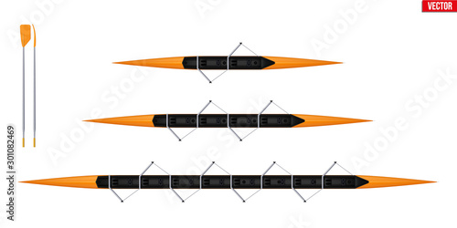 Canvas Set of racing shell and oars for rowing sport