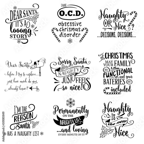 Cute Christmas quotes collection isolated on white. Vector © Claudia Balasoiu