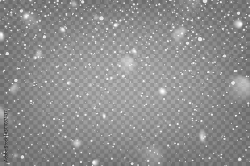Realistic falling snow with snowflakes and clouds Canvas Print