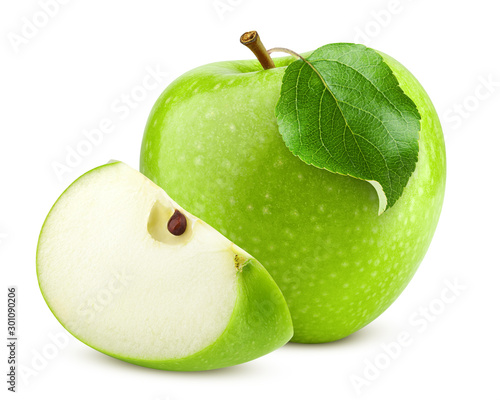 Fototapeta Green juicy apple isolated on white background, clipping path, full depth of fie
