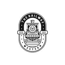 The Railway Logo Design With Train Icon. Locomotive Vintage Logo Design.
