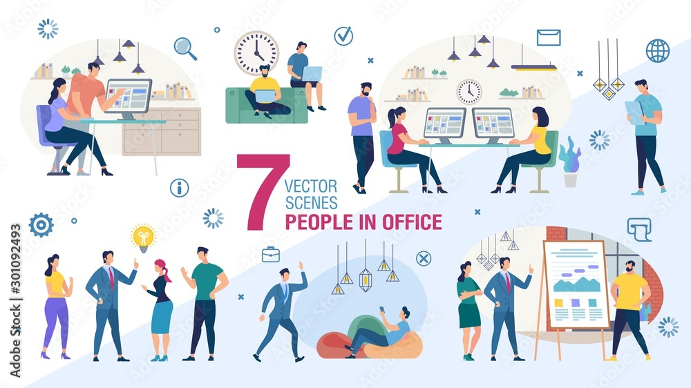 Fototapeta Business Office Workers Characters Flat Vector Set