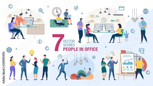 Canvastavla  Business Office Workers Characters Flat Vector Set
