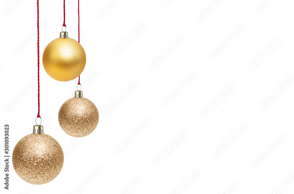 Fototapety, obrazy: Christmas Ornaments isolated on a white background.