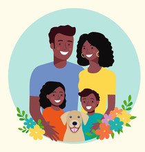 Mother And Father With Children And Dog. Happy Afro American Family. Vector Flat Style Illustration