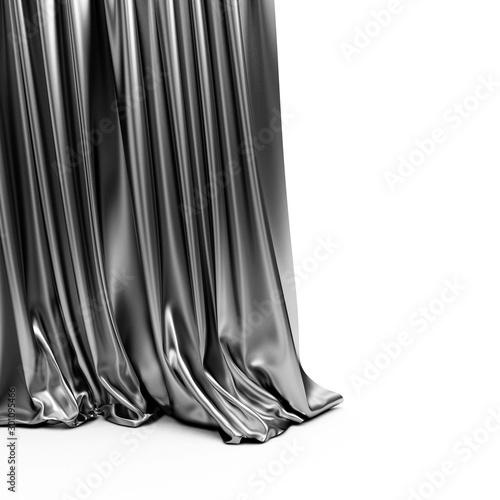 Fototapeta  Black Cloth Fabric or Curtain isolated on white background