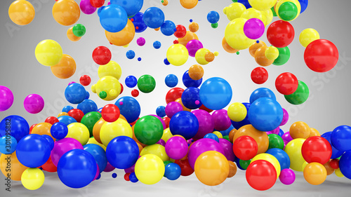 Heap of Colored Balls Falling on gradient background. 3D Rendering