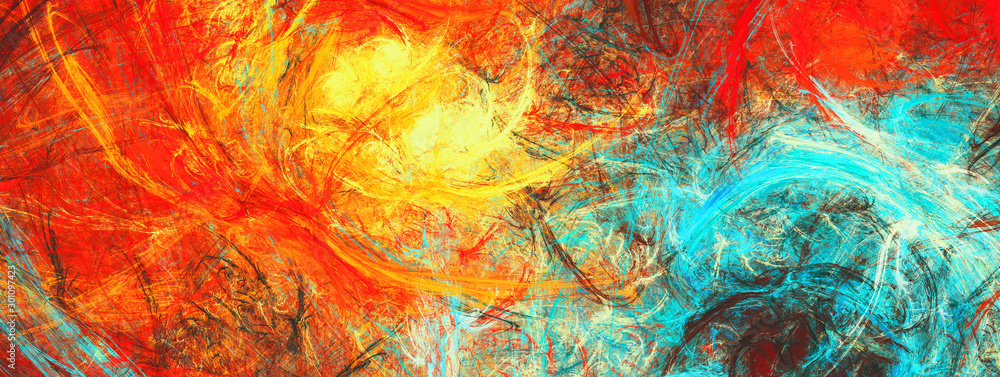 Fototapeta Sunlight. Bright dynamic background. Abstract painting texture in summer color. Modern artistic futuristic shiny pattern. Fractal artwork for creative graphic design