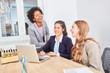 Young business women are having fun on laptop