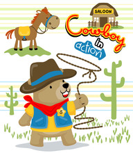 Bear Cowboy Cartoon With A Funny Horse