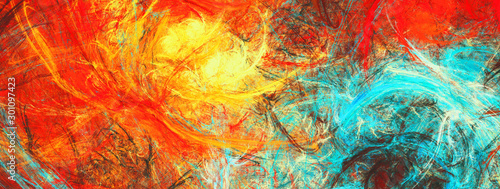 Obraz Sunlight. Bright dynamic background. Abstract painting texture in summer color. Modern artistic futuristic shiny pattern. Fractal artwork for creative graphic design - fototapety do salonu