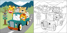 Vector Cartoon Of Happy Animals On Truck , Coloring Book Or Page