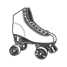 Original Contour Illustration Vintage Roller Skates Coloring Book.