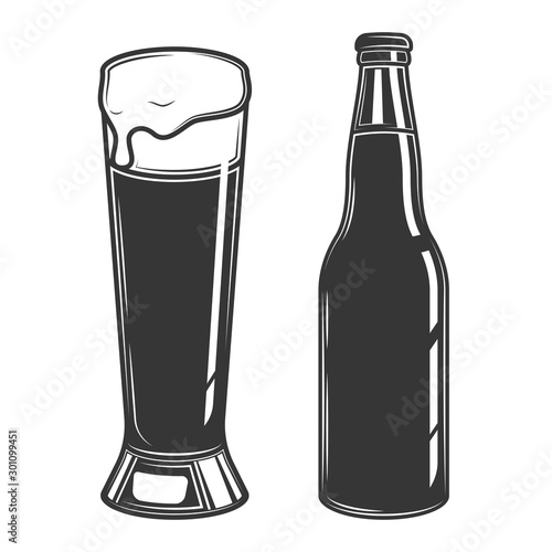 Original contour illustration of a beer bottle and a glass Wallpaper Mural