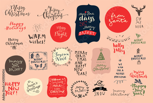 Obraz Merry Christmas and Happy New Year vintage hand drawn logos, badges and phrases for gift tags, stickers, patches, postcards, posters. Modern calligraphic artwork - fototapety do salonu
