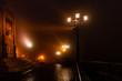 Night landscape. The street is in the fog. Kyiv, Ukraine