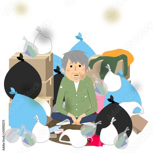 Fotografie, Tablou ゴミと高齢者 シニア男性