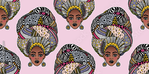 Fotografiet Seamless pattern with African woman in traditional geometric turban, head wrap