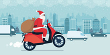 Santa Claus Delivering Gifts O...