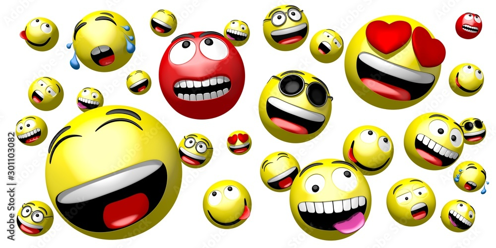 Fototapeta Emojis/ emoticons - different facial expressions - 3D rendering