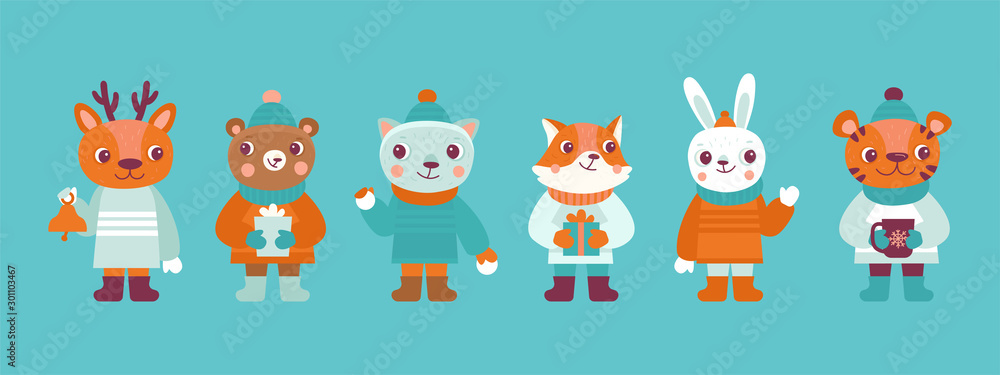 Fototapeta Funny cartoon animals in winter clothes and hats