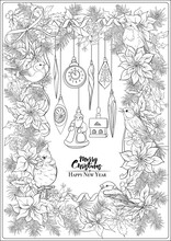 Christmas Wreath Of Spruce, Pine, Poinsettia, Winter Birds And Vintage Decoration. Coloring Page For The Adult Coloring Book. Outline Hand Drawing Vector Illustration..