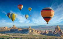 Colorful Hot Air Balloons Fly ...