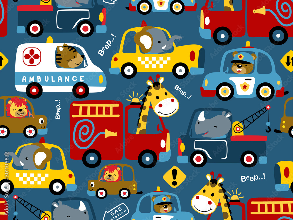 Fototapety, obrazy: seamless pattern of vehicles cartoon with funny drivers