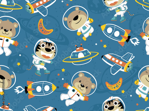 seamless pattern of funny astronaut with outer space transportation
