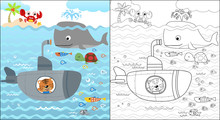 Vector Cartoon Of Cat On Submarine In Underwater With Funny Marine Animals, Coloring Book Or Page