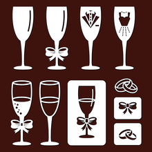 Set Of Laser Cut Template Of Champagne Glasses. Stencil Of Wine Goblet, Wedding Crossed Rings. Isolated Flat Icons For Wedding, Invitation Card. For Wood Carving, Paper Cut, Vector Diecut Silhouette.